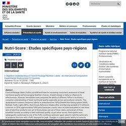 SOLIDARITES-SANTE_GOUV_FR 29/01/21 Nutri-Score : Etudes spécifiques pays-régions