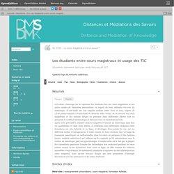 Les étudiants entre cours magistraux et usage des TIC