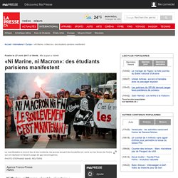 «Ni Marine, ni Macron»: des étudiants parisiens manifestent