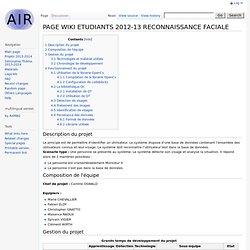 PAGE WIKI ETUDIANTS 2012-13 RECONNAISSANCE FACIALE