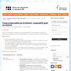 Travaux en ligne publiés par les étudiants : responsabilité quant aux contenus
