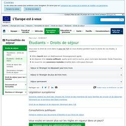 Étudier dans un autre pays de l'UE : droits de séjour - L'Europe est à vous - L'Union européenne