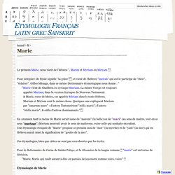 Marie - Etymologie Français latin grec Sanskrit