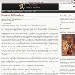 Etymologie du Nom Jehovah « Etudes Kabbalistiques « Kabbale