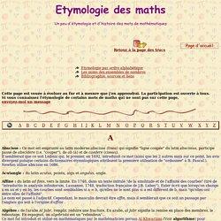 Etymologie pour le prof de maths