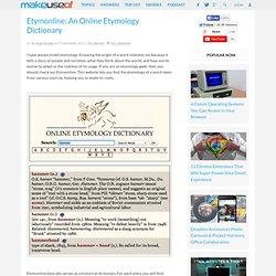 Etymonline: An Online Etymology Dictionary