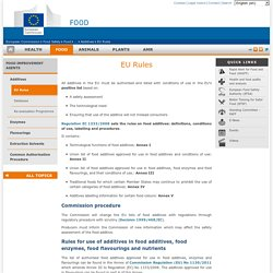 EUROPE - MARS 2015 - Guidance document describing the food categories in Part E of Annex II to Regulation (EC) No 1333/2008 on Food Additives