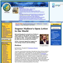 Eugene Mallove's Open Letter to the World