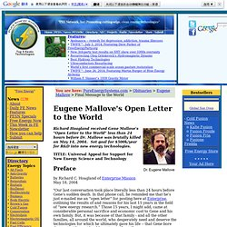 (ref. organizacion y persona) Eugene Mallove's Open Letter to the World