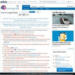 List of eugenicists - Psychology Wiki - Wikia
