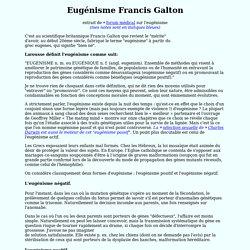 Eugénisme Francis Galton