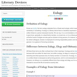 Eulogy - Examples and Definition of Eulogy