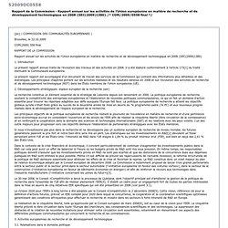 EUROPE - Rapport de la Commission - Rapport annuel sur les activités de l'Union européenne en matière de recherche et de dévelop