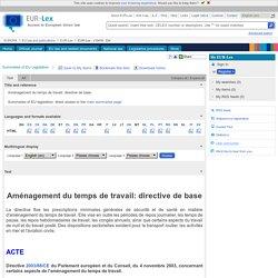 Directive européenne du 4 novembre 2003 portant sur l'aménagement du temps de travail