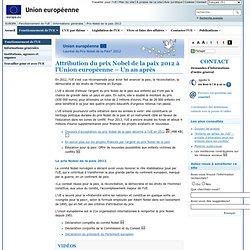 L'Union européenne reçoit le prix Nobel de la paix 2012