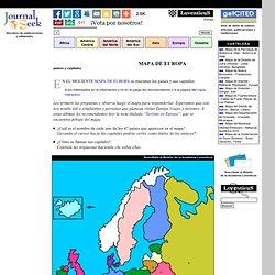 Mapa de Europa (cont. europeo): países y capitales