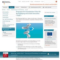 """Europa - Programm der Europäischen Union für Beschäftigung und soziale Innovation (""""EaSI"""")"""