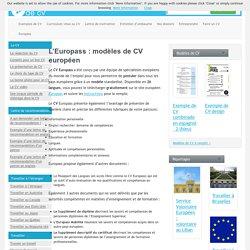 L'Europass : modèles de CV européen