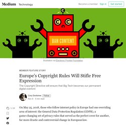 Europe's Copyright Rules Will Stifle Free Expression