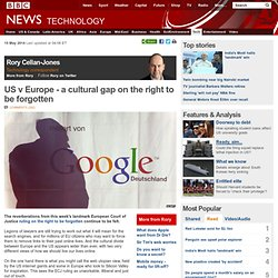 US v Europe - a cultural gap on the right to be forgotten