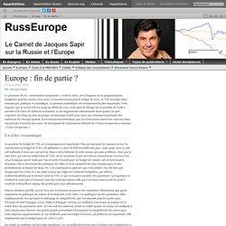Europe: fin de partie?