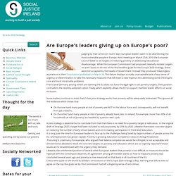 Are Europe's leaders giving up on Europe's poor? | Social Justice Ireland