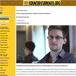 What Europe Should Know About US Mass Surveillance By Edward Snowden