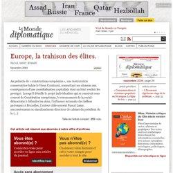 Europe, la trahison des élites., par Serge Halimi