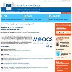 Can MOOCs save Europe's unemployed youth?