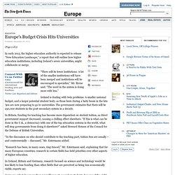 Europe's Budget Crisis Hits Universities