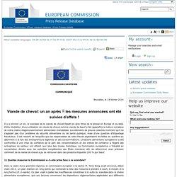 COMMISSION EUROPEENNE 14/02/14 Viande de cheval: un an après  les mesures annoncées ont été suivies d'effets !