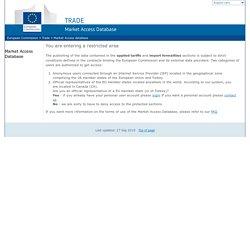 European Commission : Market Access database :