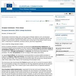 European Commission - PRESS RELEASES - Press release - European Semester 2015: College decisions