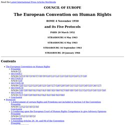 European Convention on Human Rights and its Five Protocols