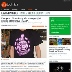 European Pirate Party shares copyright reform alternative to ACTA