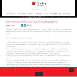 Client Alert: European Court CCTV damages judgment