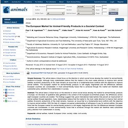 Animals, Vol. 3,: 2013 The European Market for Animal-Friendly Products in a Societal Context
