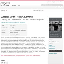 European Civil Security Governance - Raphael Bossong - Hendrik Hegemann