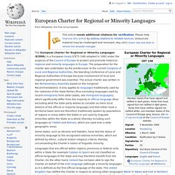 European Charter for Regional or Minority Languages - Wikipedia