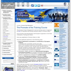 European Project Management - The Course Promoter