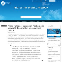European Parliament shows little ambition on copyright reform