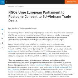 NGOs Urge European Parliament to Postpone Consent to EU-Vietnam Trade Deals
