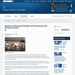 European Parliament President Martin Schulz - Speech at American Chamber of Commerce to the European Union