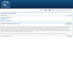 PARLEMENT EUROPEEN - Réponse à question E-002100-16 The European Research Council