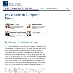 Pay Models in European News - Reuters Institute Digital News Report
