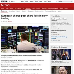European shares post sharp falls in early trading