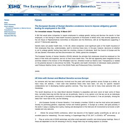 European Society of Human Genetics: News
