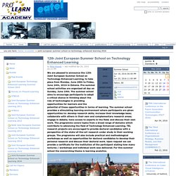 12th Joint European Summer School on Technology Enhanced Learning — PROLEARN Academy Portal