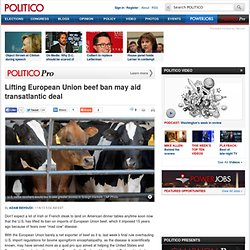 Lifting European Union beef ban may aid transatlantic deal - Adam Behsudi