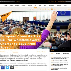 European Green Parties Call for Whistleblowers' Charter to Save Free Speech
